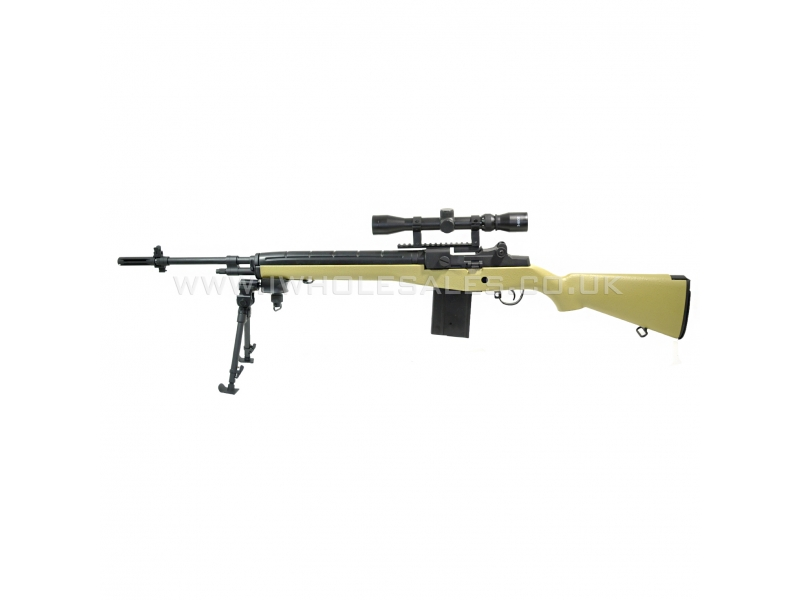 AGM M14 MP008 AEG Sniper Rifle with Scope and Bipod (TAN) M14 Ebr Airsoft