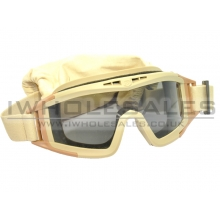 Clear Full Eye Glasses with Big Cotton Strap with 3 Lenses (Tan)