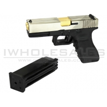 WE 17 Series Pistol Double Barrel GasBB Pistol (Ful Metal - Full Auto - Silver)