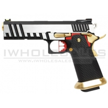 Armorer Works Custom Hi-Capa GBBP (Full Silver Slide - Black Frame - Gold Barrel - AW-HX2001)