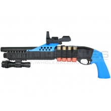AGM Shorty Pump Action Shell Shotgun with Flashlight, Scope & Leather Shell Holder (Blue)