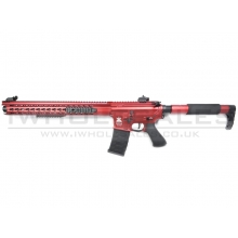 "APS ""Boar Tactical - Demolition"" Silver Edge 17"" KeyMod (Tron Stock) AEG (ASR-119X - Red)"