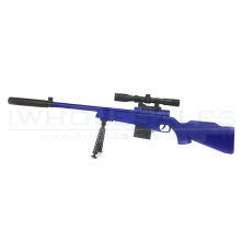 CCCP Custom BAR-10 with Mock Scope, Bipod and Silencer Spring Rifle (Blue - 646-1)