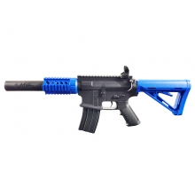 Golden Hawk M4 Rifle with Inbuilt Mock Silencer (Spring Powered - Blue)
