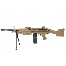 FN Herstal Minimi M249 MK2 with Sound Control Drum Magazine (Hard Stock - AK-249-MK2 - Tan)