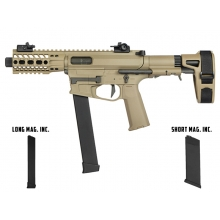 Ares M45X-S with EFCS Gearbox (Retractable Stock with Arm Stabilizing Brace - Tan - AR-085E - Comes with extra Mid-Cap and Low Cap Magazine)