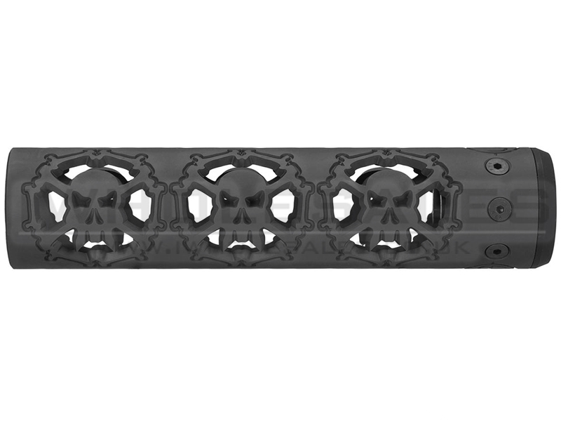 """Unique ARs CNC Machined Skulls Handguard for AR15 Pattern Rifles (Black - 9"""" - With Airsoft Barrel Nut)"""