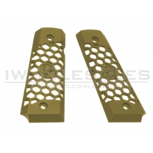 WE 1911 Hex Cut Grip Set (Full Metal - Tan)