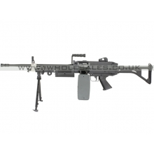 FN Herstal Minimi M249 MK1 with Sound Control Drum Magazine (Skeleton Stock - AK-249-MK1 - Black)