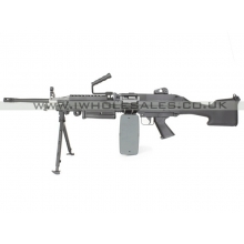 A&K M249 with Sound Control Drum Magazine (Hard Stock - AK-249-MK2 - Black)