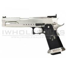 Armorer Works Custom 'Race Guns' Hi-Capa GBBP (Dragon Silver Slide - Black Grips - AW-HX2201)