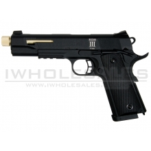 SECUTOR - Rudis III - 1911 Custom Pistol (Gold Barrel - Co2 Powered - Gas Ready - Black)