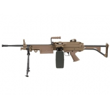 FN Herstal Minimi M249 MK1 with Sound Control Drum Magazine (Skeleton Stock - AK-249-MK1 - Tan)
