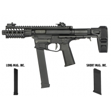 Ares M45X-S with EFCS Gearbox (Retractable Stock with Arm Stabilizing Brace - Black - AR-085E - Comes with extra Mid-Cap and Low Cap Magazine)